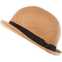 Beige straw ribbon trim bowler hat - accessories - sale - women