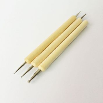 2016 Wooden Leather Carving Tools Modeling Line Pen Nail Leather Craft Tools Costura Sewing Tool 3pcs Set Art Supplier