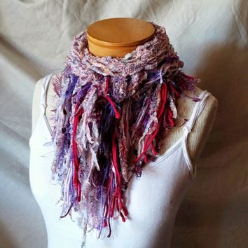 Purple triangle scarf Cowl neck shawlette Knit scarf Spring colors Fuchsia fringe wrap Fuzzy ladies stole Boho shabby shawl