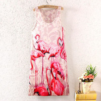 Summer Fashion Women Sleeveless Bird Graphic Printing Cocktail Short Mini Dress