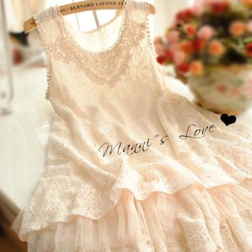 Mori Girl Casual Sweet Dress Women's Lace Layer Floral Embroidery Sleeveless Hook Flower Puff Vest Female Vestido Dresses Y006