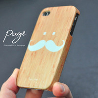 Apple iphone case for iphone iPhone 5 iphone 4 iphone 4s iphone 3Gs : Classic soft blue mustache on wood background (Not real wood)
