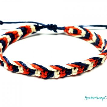 Fishbone Hemp Bracelet, Red White and Blue Macrame Jewelry - $9.00 - Handmade Jewelry, Crafts and Unique Gifts by MandarrHempCreations