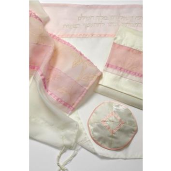 Talilt with Golden Floral design and Pink Stripes - Galilee Silks
