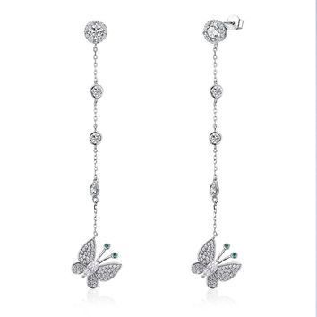 Womens .925 Silver Earrings - Butterflies