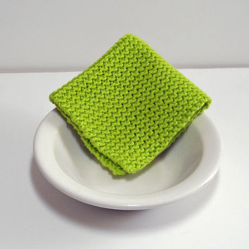 Large Hand Knit Washcloth/ Dishcloth in Hot Green, Knit Dust Cloth, 100% Cotton, Make Custom Set, Housewarming Gift, Shower Gift, Baby Gift