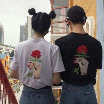 New summer Couple's O Neck Rose embroidery short sleeve T-shirt -0626