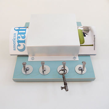 SINGLE MAIL ORGANIZER: with Key Hooks, Wall Mount Modern Wooden and Metal Organizer for Home or Office.