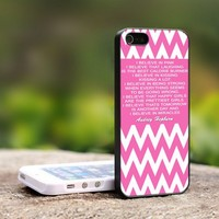 Audrey Hepburn Quotes Chevron pink - For iPhone 5 Black Case Cover