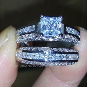 Size 5-10 Princess Cut 10k white gold filled white Topaz Wedding Ring set Christmas gift [7981378183]