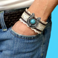 Boho wide dark brown leather turquoise & silver horseshoe lace western design cuff bracelet, gift