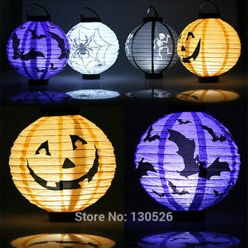 1pcs Halloween Decoration LED Paper Pumpkin Light Hanging Lantern Lamp Halloween Props Outdoor Party Decoration Supplies