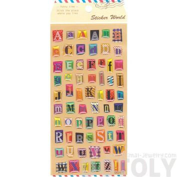 Magazine Cut Out Alphabet ABCs Shaped Typography Stickers for Scrapbooking and Decorating