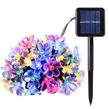 Peach Flower Solar Lamp Power LED String Fairy Lights