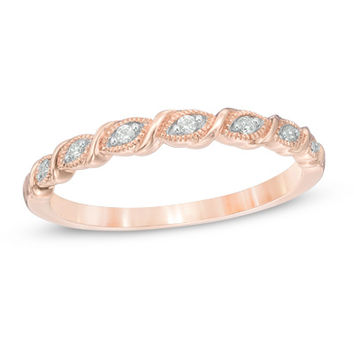 Diamond Accent Vintage-Style Cascading Band in 10K Rose Gold