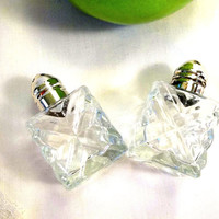 Vintage cut glass and Silver Plated Salt and Pepper Shakers made in Japan THREE SETS AVAILABLE