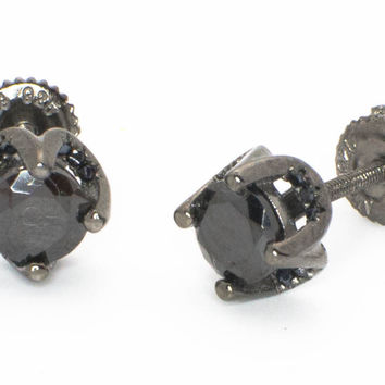 Sterling Silver 6mm Black CZ Stud Earrings with Black Micropave Accent Stones