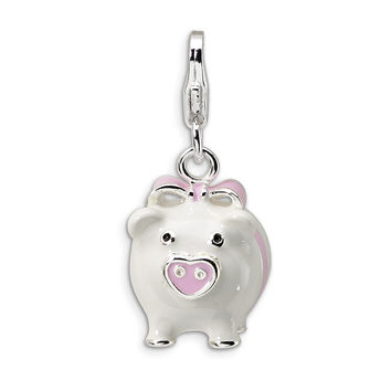 925 Sterling Silver 3D Enameled Pink and White Piggy Bank Dangle Charm
