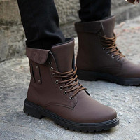 Mens new Faux leather Lace up Military Combat Mid-calf boots rivet high-top shoe