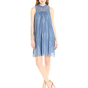 Taylor & Sage Women's All-Over Lace High Neck Dress