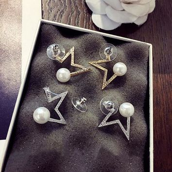 CUPUPGM Pearls Star Vintage Strong Character Earrings [10399365908]