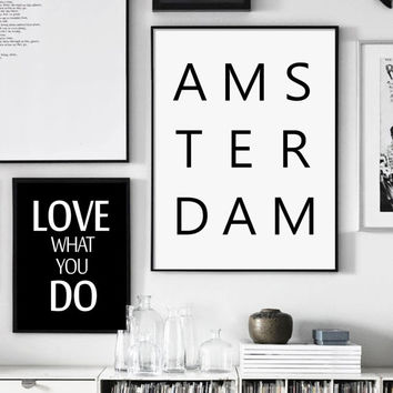 AMSTERDAM, Printable Typographic Print, Modern Minimalist Poster, Scandinavian Style, Wall Art Large, Nordic design, Affiche Scandinave