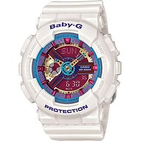 Casio Ladies Baby-G Analog-Digital - 3D Dial with White Resin Case and Strap