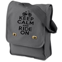 Keep Calm Ride On Messenger Bag Gray Bike British Bicycle Canvas bag