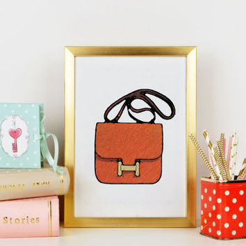 HERMES Bag Watercolor Artwork. Modern high fashion wall art. Stunning Home Décor.Fashion print Fashionista Hermes print High Fashion
