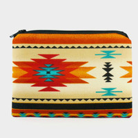 Southwestern small zipper pouch in gold / coin purse / makeup bag