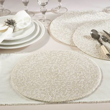 Cora Oyster Pearl Beaded Placemat | Set of 4