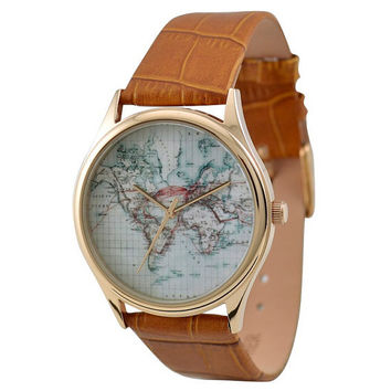 Vintage Map Watch World by SandMwatch on Etsy