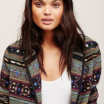 Free People Metal Embellished Jaquard Blazer
