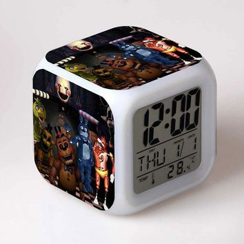 Figuras  World Games  at freddy Anime Figurine LED Alarm Clock Colorful Flash Light freddy Toys for Boys
