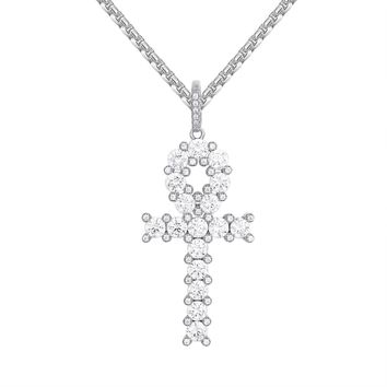 Sterling Silver Solitaire Prong Set Religious Ankh Pendant Chain