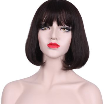 Deifor Women Short Straight Heat Resistant Synthetic Hair Swept Bangs Bob Wig for Daily Use Cosplay (Dark brown)