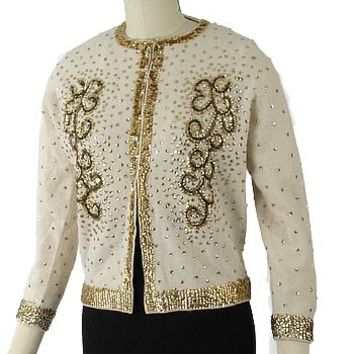 1960s Gold Sequin Beaded Cream Angora Cardigan
