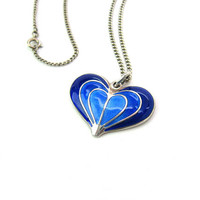 Blue Enamel Heart Pendant Necklace. Sterling Silver David Andersen Norway. Concentric Hearts Vintage Mid Century Modern Scandinavian Jewelry