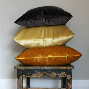 Luxury Velvet Pillow Cover, purple lumber, gold velvet cushion cover, metallic gold velvet throw pillow decor, distressed velvet, aubergine