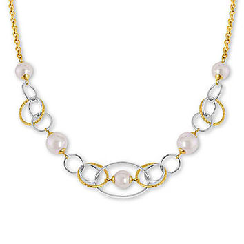 Majorica Mutli Tone Pearl & Chain Necklace - Gold/Pearl
