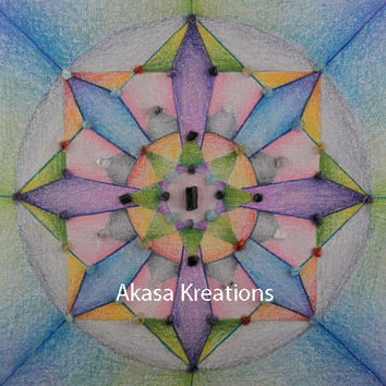 Phebos Crystal Mandala Healing Grid Crystal Charging Grid Oil Pastel Painting Colored Pencil Spiritual Sacred Geometry Psychic Protection