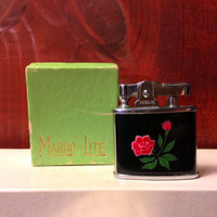 Working Marbo Lite Red Flower Lighter in Original Box
