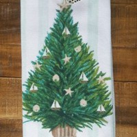 CYNTHIA ROWLEY Set of 2 Beach Kitchen Towels Ocean Beach Sea Christmas Tree