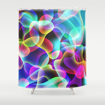 Electric  Rainbow Jellyfish Shower Curtain by Miss L In Art