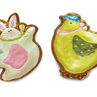 2 Easter Plates - Bunny And Chick