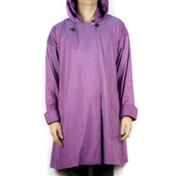 80s iridescent purple cloak / vintage 1980s raincoat