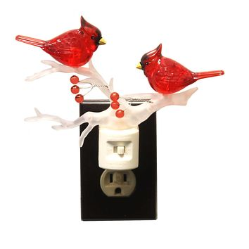 Christmas CARDINAL ON BRANCH NIGHT LIGHT Plastic Swivel Base 160045