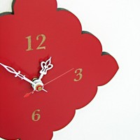 small wall clock with scalloped edges - pale blue, cherry red, natural birch