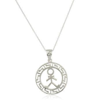Ladies 925 Sterling Silver Male Figure Greek Key Design Pendant with an 18 Inch Link Necklace