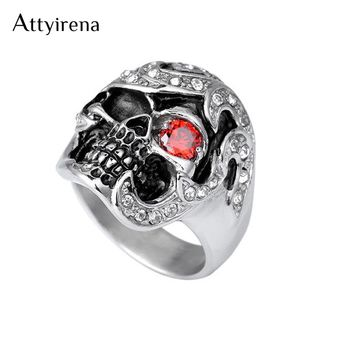 Cool Personality Skull Ring With Red CZ Eye Stainless Steel Punk Exaggerated Mens Rings For Men Vintage Jewelry